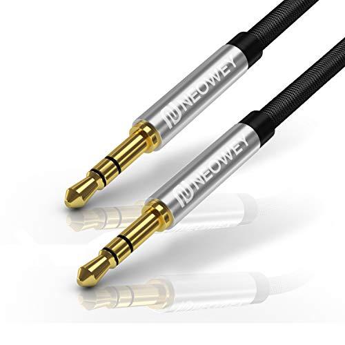 Ipod Auto-stereo-kabel (Neowey Nylon Aux-Kabel 3,5mm Stereo für Handy iPod iPhone Samsung Lautsprecher Auto Tablet KFZ PC (1,5m, schwarz))