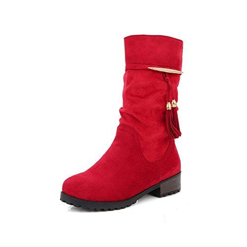 VogueZone009 Damen Mattglasbirne Niedriger Absatz Fransig Mitte-Spitze Ziehen auf Stiefel, Rot, 41