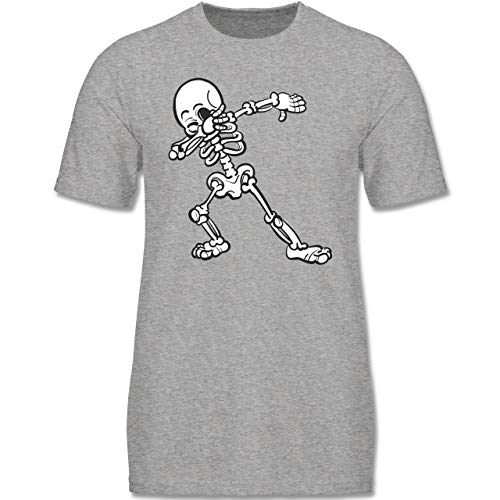 Anlässe Kinder - Dabbing Skelett - 152-164 (12-14 Jahre) - Grau meliert - F140K - Jungen ()