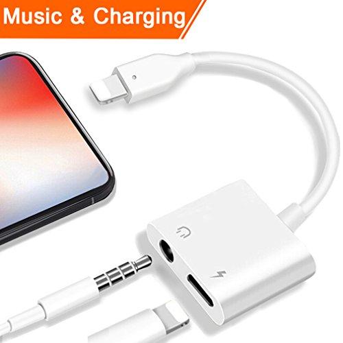 Lightning 3.5mm Kopfhörer Jack Adapter für iPhone 7/7 Plus iPhone 8 / 8Plus iPhone X iPad iPod. Beleuchten Sie Verbindungsstück zu 3.5 Millimeter-Zusatzkonverter-Kopfhörer-Jack-Adapter-Zusätzen. Kopfhörer Adapter Kopfhörer Aux Audio & Lade Adapter, Stecker Blitzkabel [Audio + Lade + Musik]. Unterstützen iOS 11 und später.