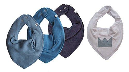 ★ SUPER KOMBI-SET ★ PIPPI 3er Set Baby Kinder HALSTUCH 3 Stück taubenblau / vallarta blau / dunkelblau ★ + 1 Bestseller Halstuch KRONE auf weiß ★
