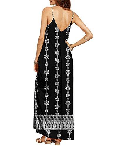 Cystyle Damen Sommerkleid lange V-Ausschnitt Swing Maxi Oversize Party Strandkleid Stil 4