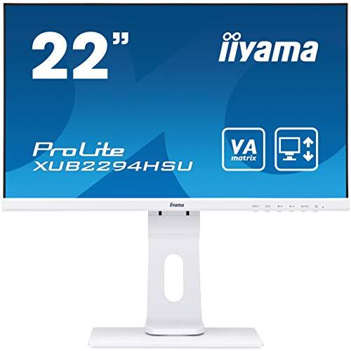 "Iiyama iiyama ProLite XUB2294HSU-W1 54,6cm (21,5""l) VA LED-Monitor Full-HD (VGA, HDMI, DisplayPort, USB2.0) Ultra-Slim-Line, Höhenverstellung, Pivot, weiß"