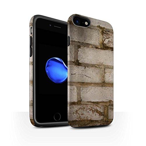 STUFF4 Matte Harten Stoßfest Hülle / Case für Apple iPhone 8 / Lückenhaft/Rot Muster / Mauerwerk Kollektion Blass/Weiß