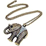 Vintage Retro Bronze Large Elephant CLear Crystal Long Necklace Animal