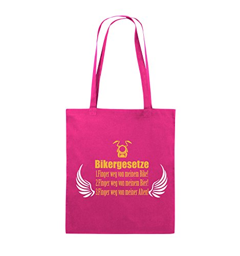 Comedy Bags - BIKERGESETZE - FLÜGEL - Jutebeutel - lange Henkel - 38x42cm - Farbe: Schwarz / Weiss-Neongrün Pink / Gelb-Weiss