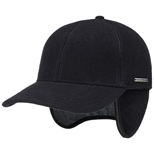 Stetson Vaby Earflap Cap für Herren Wollcap Wintercap Hinten geschlossen, mit Schirm, Ohrenklappen,, dunkelblau, XL (60-61 cm)