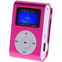 MOKE Mini clip in metallo lettore mp3 con schermo LCD + Micro / TF Mp3 memoria espandibile fino 16GB (scheda SD) (rosa)