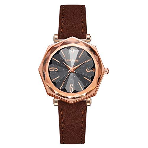 REALIKE Damen Armbanduhren Einfach Prismatisch Konvex Keine Nummer Lederband Uhren Mehrfache Farben Freizeit Ultradünn Britische Artart und Weise Neue High End Geschäftsuhr Business