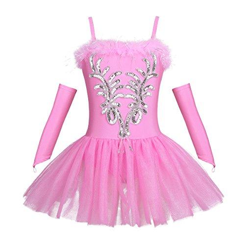 Tiaobug Mädchen Ballettkleidung 3tlg.Set Ballettkleid+Handschuhe+Haarband Kinder Ballettanzug Ballett Trikot Tanz Kostüm Tütü Kleid 104 110 116 122 128 140 152 Rosa 110-116 (Herstellergröße: 120)