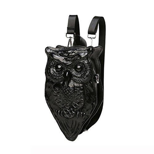 Etach donna borsa a tracolla diagonale Cross 3D personalizzata PU simulazione Owl zaino, Black Black