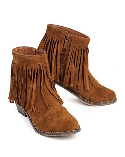 Fourever Funky De la Mujer Suede Flecos Round Toe tobillo botas de vaquera, color Beige, talla 42 EU (M)