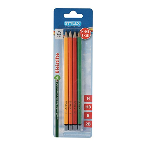 Stylex 26015 Bleistift ohne Radiergummi, 4 Stück