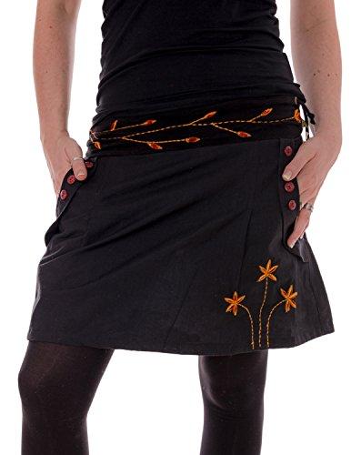 Vishes - Alternative Bekleidung - Bestickter Baumwollrock mit Blumen schwarz 40 (L)