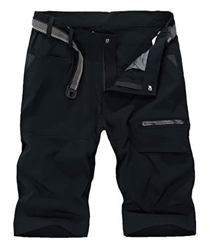 Nylon Herren-shorts (KEFITEVD Herren Bermuda Shorts Sommer Halblang Outdoor Wanderhose Wasserabweisend Funktionshose Kurz Cargohose Nylon Freizeithose Radshorts Dunkelgrau)