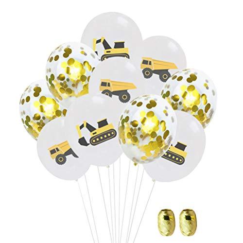 Luftballon-Set, 30,5 cm, bunt, Bagger, LKW, bedruckt, Luftballons, Aluminiumfolie, Pailletten, Konfetti, Luftballon-Set für Baby, Geburtstag, Party, Dekorative Luftballons mit 2 Rollen, Bändern