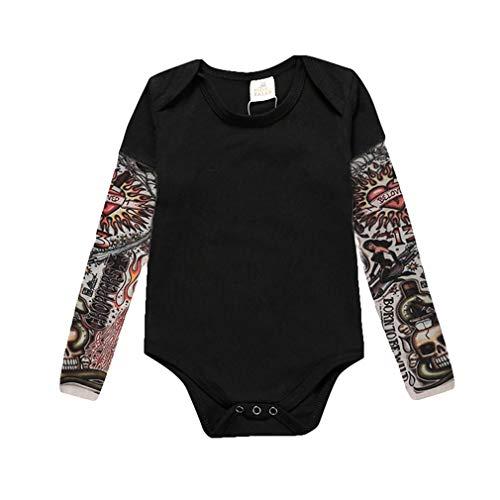Mxssi Neugeborenes Babyspielanzug Tattoo Sleeve Tattoo Brief Gedruckt Muster Junge Mädchen Baby Kostüm - Kostüm Tattoos