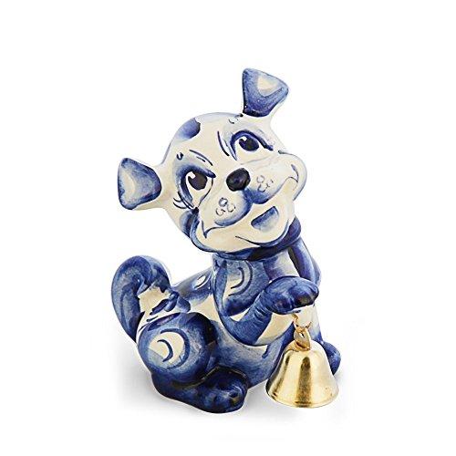 Porzellanfigur Hund Muchtar mit Glocke 12 cm Handgemalt Gzel blau Jahressymbol 2018