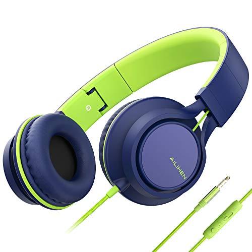Cuffie, Ailihen C8leggero pieghevole cuffie con microfono per iPhone, iPad, iPod, smartphone Android, PC, laptop, Mac, MP3/MP4, tablet, cuffia per musica o Gaming. Blue Green