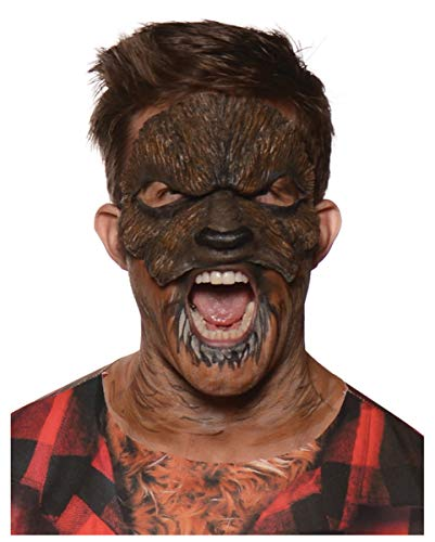 Horror-Shop Werwolf Lykaner Wolfsmensch Halbmaske für Halloween