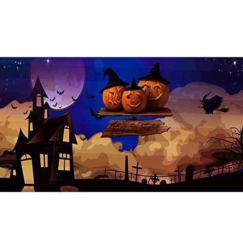 Riou DIY 5D Diamant Painting Voll,Halloween Kürbis Bild Gemälde Diamant Malerei Muster Crystal Strass Stickerei Bilder Kunst Handwerk für Home Wand Decor Kreuzstich (Mehrfarbig H, 50 * 30cm)