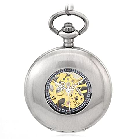 SNHWARE Flip Vintage Mechanical Pocket Watch Polished White Bronze Hollow Commemorative Watch