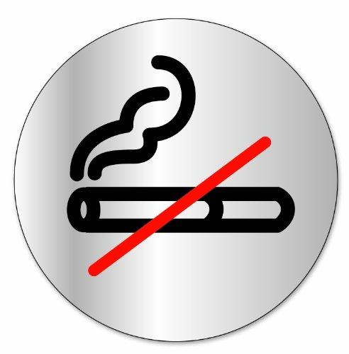 """Symbol DS38 Indicator disc """"Rauchen verboten"""" - Selbsthaftendes Aluminium - Durchmesser 80 mm"""
