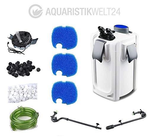 AquaOne Aquarium Außenfilter HW-704B 45W 2000 L/h bis 1000l Becken Filtermaterial Uvc Filter Schwammfilter Wasserfilter Leise