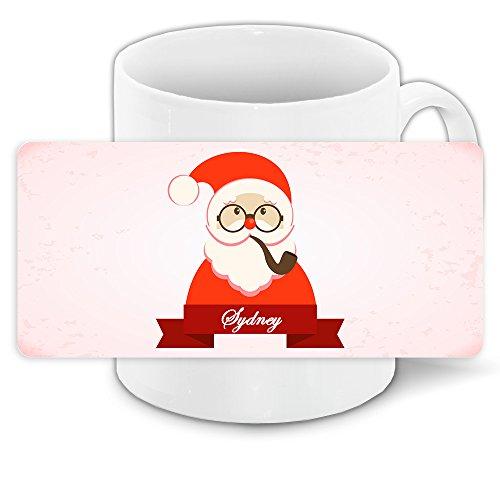 Tasse mit Namen Sydney und modernem Nikolaus-Motiv mit Brille und Pfeife - Tasse zu Weihnachten