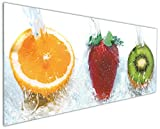 Wallario Küchen-Rückwand | Glas mit Motiv Frische Früchte übergossen mit Wasser in Premium-Qualität: Brillante Farben, ohne Aufhängung | geeignet zum Verkleben |Spritzschutz Küche Herd Spüle | abwischbar | pflegeleicht