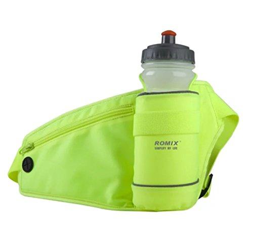 Outdoor Sport Wasser Resistant Taille Pack mit Wasser Flasche (nicht im Lieferumfang enthalten) Halter, Running Tasche Fanny Pack für Wandern Laufen Radfahren Klettern Reise Dual Tasche Tasche für iPh Gelb