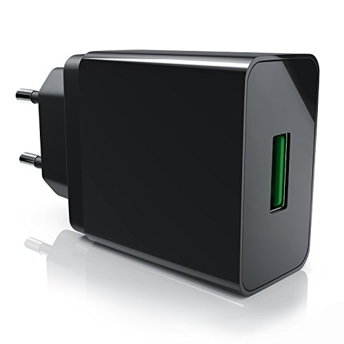 Csl - 18w caricabatterie da muro usb quick charge 1 port | ricarica rapida | tecnologia intelligente smart charge | caricatore usb per samsung galaxy s8 / s8+ / note 8, lg g5 / g6, nexus 5x / 6p, htc 10, iphone x / 8 / 8 plus, ipad pro / air ecc | nero