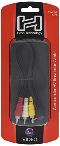 Hosa C3M-105 AV Breakout Kabel, 3.5mm TRRS auf Composite Video und Stereo Audio Camcorder, 5ft Breakout-video-kabel