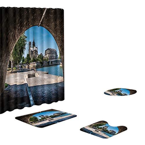 Xmiral Duschvorhänge Badezimmerteppich U-Pad über WC-Sitzkissen 4 Stück Satz Notre Dame de Paris Serie(AZ)