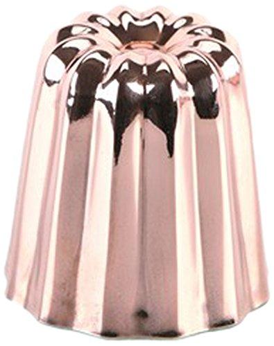 Grilo 811008 Lot de 4 Moules à Cannelé Cuivre Intérieur Étamé Moyenne Modèle 4,5 cm
