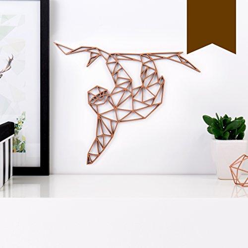 KLEINLAUT 3D-Origamis aus Holz – Wähle Ein Motiv & Farbe – Faultier – 20 x 16,8 cm (M) – Braun