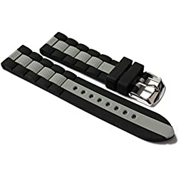 22mm Watch Strap. Black with Grey Strip in Silicone Rubber.