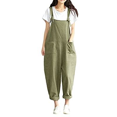 Romacci Women Jumpsuit Loose Leg Playsuit Solid Color Rompers Overalls Casual Dungarees, S- 5XL