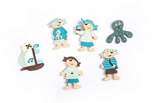 6 Streuteile Tischstreu Mini-Teile Streudeko Zierstreu maritim Holz mit Piraten, Seeräuber und Piratenschiff mit Klebepunkt (3,7 - 5 cm groß!); Nicht nur für Erwachsene! Als Tischdeko zum Geburtstag (Piraten-boot Erwachsene)