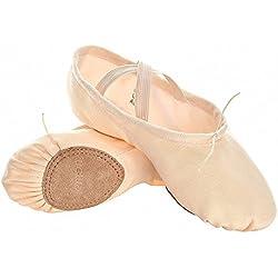 s.lemon Scarpe Danza Classica Tela Morbido Scarpe da Ballo Scarpette da Danza Ballerina con Suola Diviso Ballo Pantofole per Le Ragazze Bimba Donna delle Signore Uomini