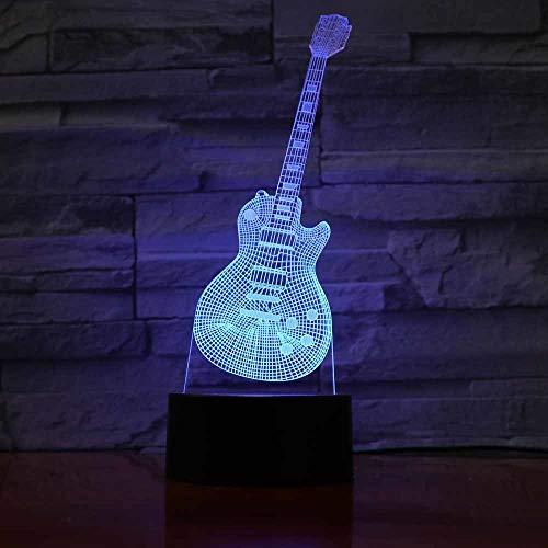 schlampe Gitarren-Led-Nachtlampe 3D Illusion Nachtlicht Touch Control 7 Farben Ändern USB-Ladegerät Kreative Kunsthandwerk Atmosphäre Leuchten ()