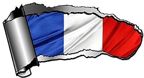 Grande Ouverture découpé Design Torn coupure Effet métal Voiture Sticker pour révéler France Français Drapeau national Design X 195X 105mm