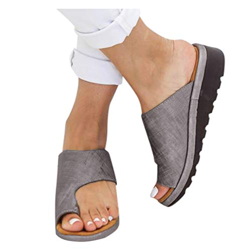 Sommerschuhe Damen Flip Flop,Low Heeled Wedges, Clip Toe Slip-On Sandalen, PU Leder Sommer Strand Schuhe Slipper Flip-Flop für Damen Plus Größe -