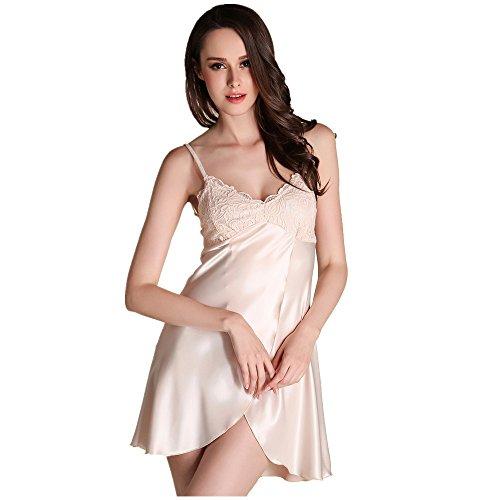 Öffnen Sexy Spitzenbesatz Nachahmung Seide Rückenfrei Ärmellos Stickerei Lingeries Nachtwäsche Pyjama Rutscht für Damen und Mädchen Champagner