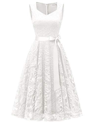 GardenWed Damen Elegant Spitzenkleid Strech Herzform Abendkleid Cocktailkleider Partykleider White S White Floral-kleid