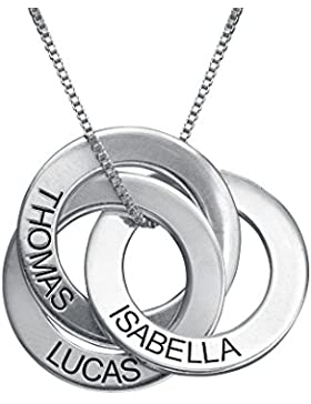 Russische Ring Halskette mit Gravur - Personalisiert mit Ihrem eigenen Namen