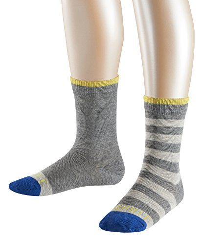 ESPRIT Kinder Stripe Logo Baumwoll-Socken, Mehrfarbig (Light Grey Mel. 3390), 35-38 (2er Pack)