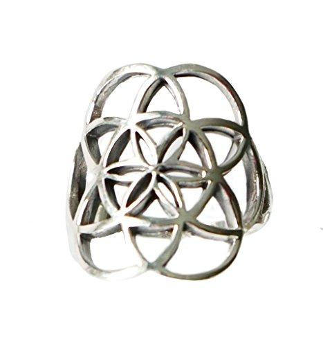 Ring BLUME DES LEBENS 925 Sterling Silber Gr. 56 / 57 / 58 / – Spiritualität - Yoga - Meditation - Astrologie - Esoterik - Symbol - Schmuck -...