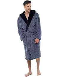 28825de933 Wolf   Harte Men s Two Tone Shaggy Cationic Fleece Contrast Lapel Hooded Bath  Robe