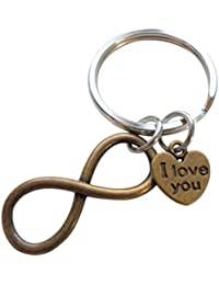 I Love You Heart Charm with Bronze Infinity Symbol Keychain - You and Me for Infinity; Couples Keychain
